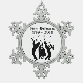 Historic New Orleans Tricentennial Snowflake Pewter Christmas Ornament