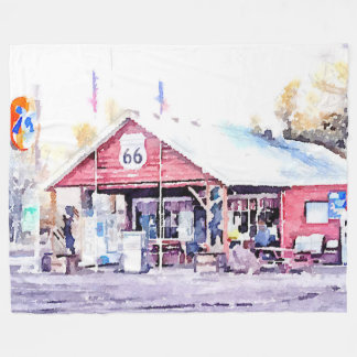 Historic Route 66 Arizona General Store Watercolor Fleece Blanket