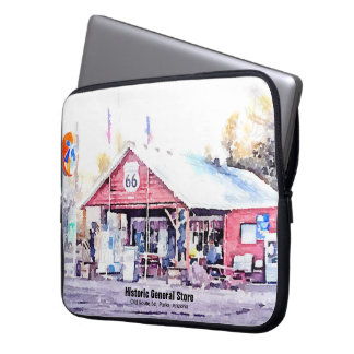 Historic Route 66 Arizona General Store Watercolor Laptop Sleeve