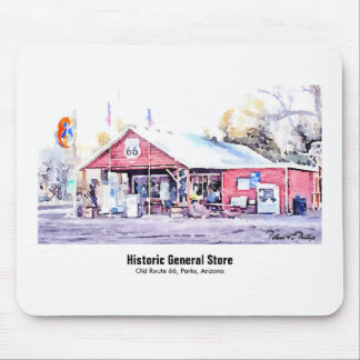 Historic Route 66 Arizona General Store Watercolor Mouse Pad
