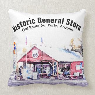 Historic Route 66 Arizona General Store Watercolor Throw Pillow