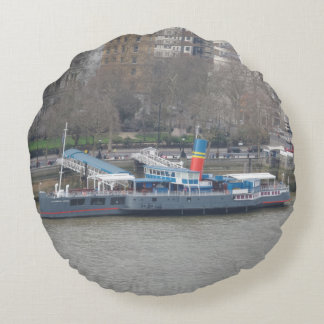 Historic Ship on Thames Round Pillow