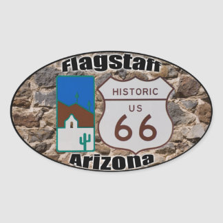 Historic US Route 66 Flagstaff Arizona Oval Sticker