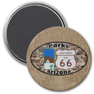 Historic US Route 66 Parks Arizona 3 Inch Round Magnet