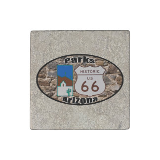 Historic US Route 66 Parks Arizona Stone Magnets
