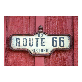Historic US Route 66 Sign on Red Photo