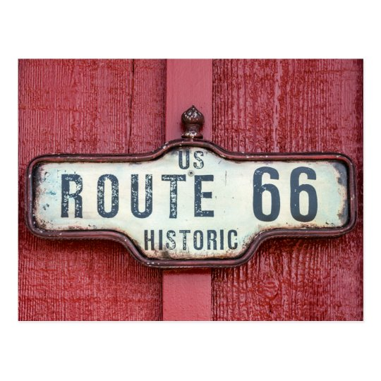 Historic US Route 66 Sign on Red Postcard