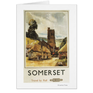 Historic Village Scene British Railway Poster Card