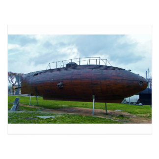 Historic wooden submarine replica. postcard