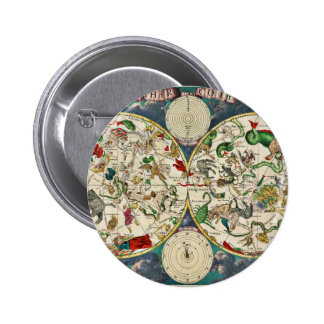 Historic Zodiac Map, 1670 2 Inch Round Button