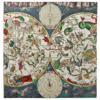 Historic Zodiac Map, 1670 Napkin