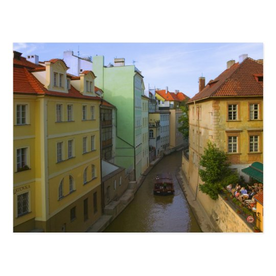 Historical buildings with canal, Prague, Czech Postcard