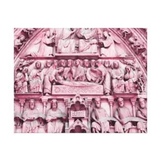 Historical, Christian sculptures Notre Dame Paris Canvas Print