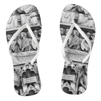 Historical, Christian Sculptures Notre Dame Paris Flip Flops