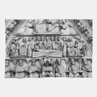 Historical, Christian Sculptures Notre Dame Paris Kitchen Towel