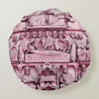 Historical, Christian sculptures Notre Dame Paris Round Pillow