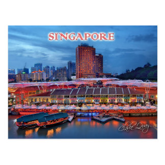 Historical Clarke Quay in Singapore Postcard