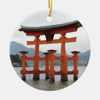 Historical Gate in the Bay of Miyajima, Japan Ceramic Ornament
