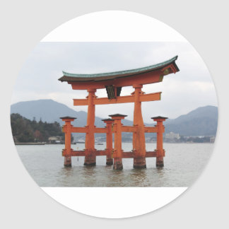 Historical Gate in the Bay of Miyajima, Japan Classic Round Sticker