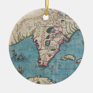 Historical Map of Florida (1591) Ceramic Ornament