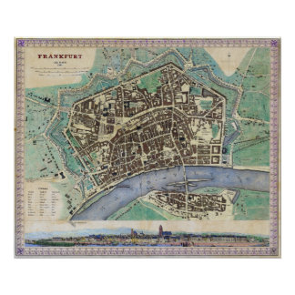Historical Map of Frankfurt Germany Am Mayn 1845 Poster