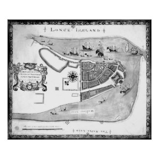 Historical Map of New York City (1664) BW Poster