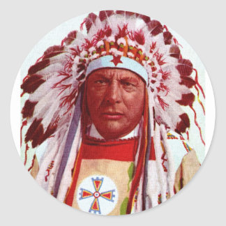 Historical Native American Painting Round Sticker