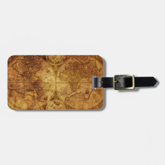 Historical Old Antique World Map Luggage Tag