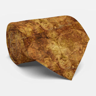 Historical Old Antique World Map Tie