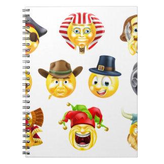 History Emoji Emoticon Set Spiral Notebooks