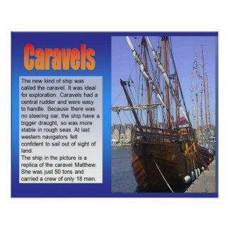 History, Exploration,Caravels, Sailing ship Poster