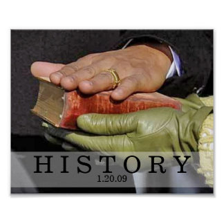 HISTORY: President Obama Hand on Lincoln Bible Poster