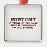 History Silver-Colored Square Ornament