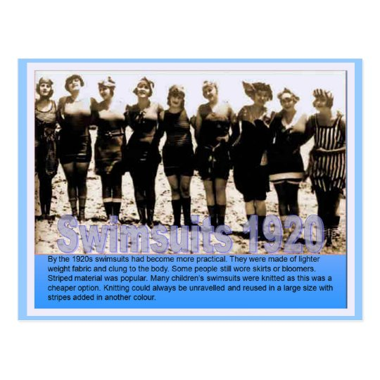 History, Victorian, Swimsuits 1920 Postcard