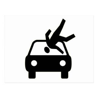 Hit By Car Postcard