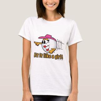 Hit It Like A Girl cartoon golf ball art T-Shirt
