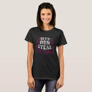 Hit Run Steal Softball Distressed T-Shirt