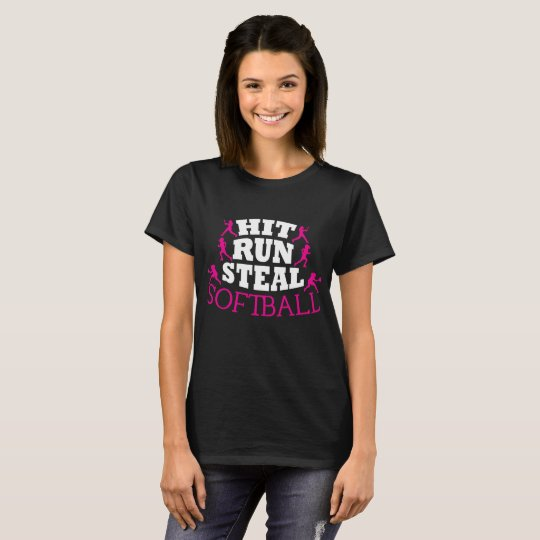 Hit Run Steal Softball T-Shirt
