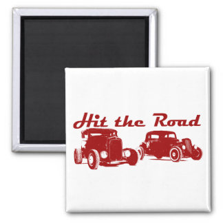 Hit the Road - Hot Rods flat bordeaux Magnet