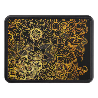 Hitch Cover Floral Doodle Gold G523