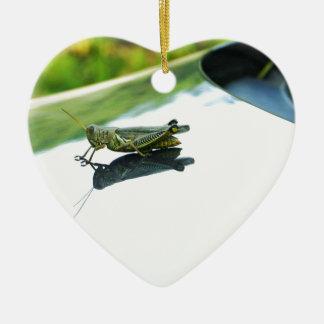 hitch hiking grasshopper ceramic heart ornament