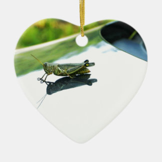 hitch hiking grasshopper ceramic ornament
