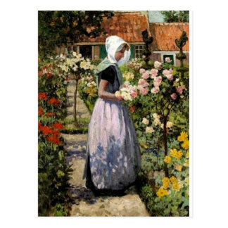 Hitchcock - Dutch Woman in Garden Postcard