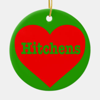 """HITCHENS HEART"" (double-sided) Round Ceramic Ornament"