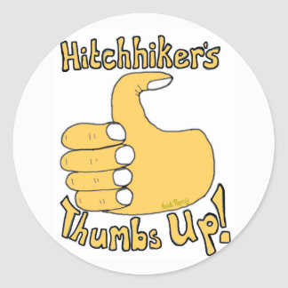 Hitchhiker's Thumbs Up Funny Cartoon Sticker