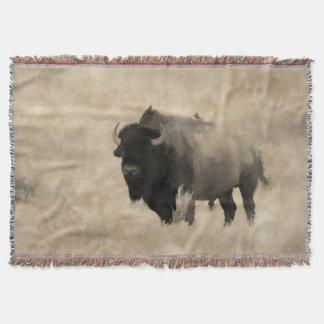Hitching a Ride  -  Bison-lover's Design Throw Blanket