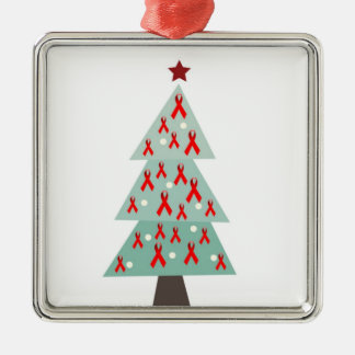 HIV Aids Awareness Christmas Tree Metal Ornament