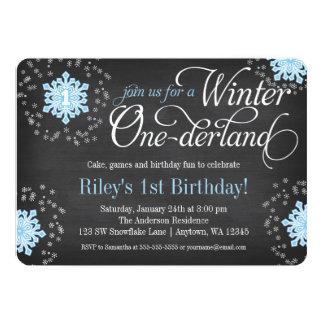 Hiver bleu Onederland de tableau de flocons de Carton D'invitation 12,7 Cm X 17,78 Cm