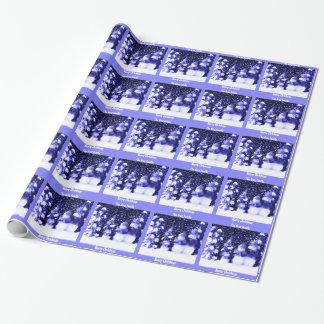 Hiver bleu personnalisé de bonhomme de neige de papier cadeau