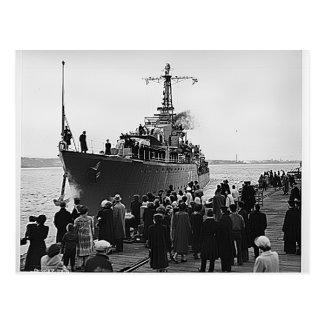 HMCS Nootka leaving Halifax for Korea Postcard